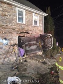 Fame , as a part of the Chester County Rescue Task Force, assisted the Downingtown FD at this early morning vehicle accident in East Caln Twp. Fame and CCRTF crews installed vertical shoring to support parts of this damaged building so the car could be safely removed.