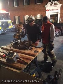 Collapse Technicians Steve Amway (L) and Kevin Beans (R) handle the cut station duties at the Market and Church Street accident. Several hours later they, along with other Fame collapse technicians, assisted Downingtown FD for a vehicle into a building.