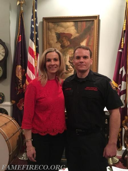 FF Harkins with Amy Yozviak, the victim he rescued from a terrible accident on Route 202 in November 2017.