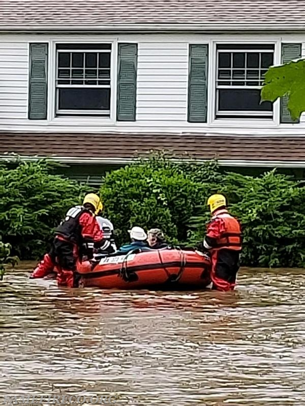 Boat 53-2 crew safely removes occupants from flooded dwelling in Willistown Township.