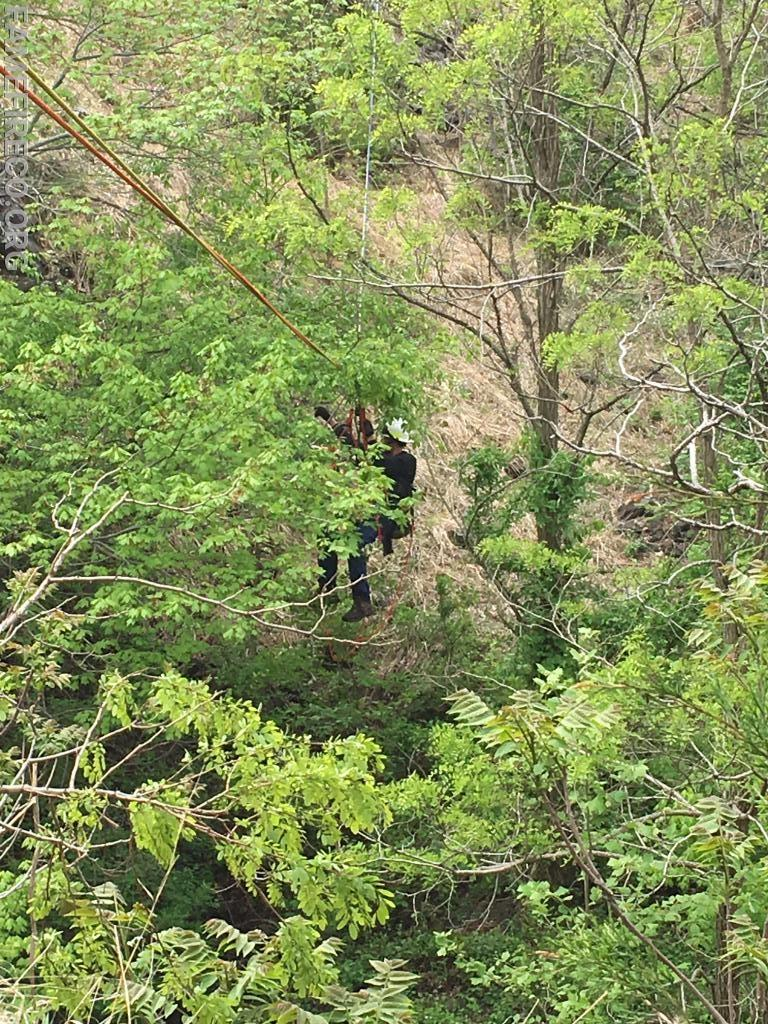 "FF Ring with a ""victim"" in a stokes basket, makes his way across the 150' canyon."