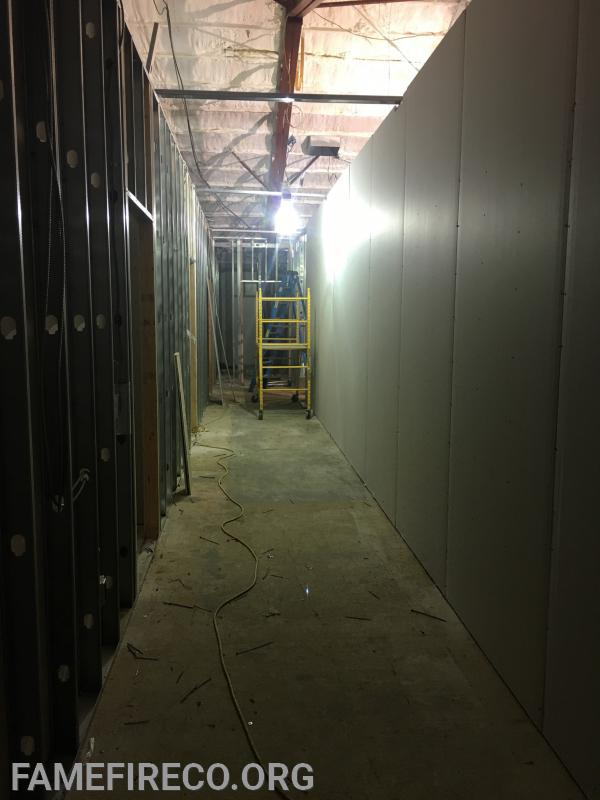 Four bunk rooms and hallway being framed and dry walled in former Silsby Room.